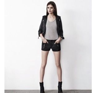 All Saints Black Ruby Leather Shorts